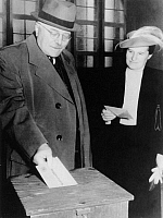 0097056 © Granger - Historical Picture ArchiveREINHOLD MAIER (1889-1971).   German politician and Prime Minister of the state of Württemberg-Baden, Germany. Maier and his wife, voting on the proposal to merge three southern West German states, 24 September 1950.