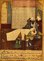 0097579 © Granger - Historical Picture ArchiveMOHAMMED (570-632).   The death of Mohammed, Arabian prophet and founder of Islam. Standing over him is his father-in-law and successor, Abu Bakr. Turkish miniature, late 16th century, after a manuscript of 1368. Full credit: Archiv Gerstenberg, ullstein bild / Granger, NYC -- All rights reserved.