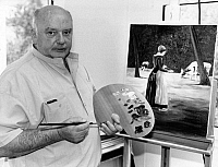 0099760 © Granger - Historical Picture ArchiveKONRAD KUJAU (1938-2000).   German artist and forger, photographed while painting a copy of Max Liebermann's 'Dutch Cowgirl,' 1991. Full credit: amw Pressedienst GmbH - ullstein bild / Granger, NYC -- All rights reserved.