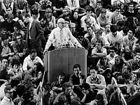 0103127 © Granger - Historical Picture ArchiveHERBERT MARCUSE (1898-1979).   American (German-born) political philosopher and sociologist. Marcuse giving a speech during a demonstration at the Free University of Berlin, 1967. Full credit: Jung - ullstein bild / Granger, NYC -- All righ