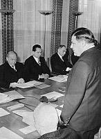 0103672 © Granger - Historical Picture ArchiveGERMAN ATOMIC COMMISSION.   Session of the German Atomic Commission in Bonn, Germany. Federal Minister of Nucelar Energy, Franz Josef Strauss speaking before professors Otto Hahn, Otto Haxel, and Werner Heisenberg, 26 January 1956.