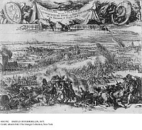 0103702 © Granger - Historical Picture ArchiveBATTLE OF FEHRBELLIN, 1675.   Forces from Brandenburg under Frederick William, the Great Elector, fight against an invading force from Sweden led by Count Waldemar von Wrangel, 28 June 1675. Contemporary drawing.