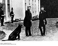 0104001 © Granger - Historical Picture ArchiveWILHELM II (1859-1941).  Wilhelm II (right), German Emperor and king of Prussia, with Otto von Bismarck (left) at Bismarck's manor house in Friedrichsruh, Germany. Photographed 30 October 1888.