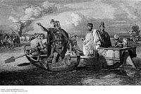 0105060 © Granger - Historical Picture ArchiveVALENS & FRITIGERN, 376 A.D.   Roman Emperor Valens allowing the Visigothic chieftain, Fritigern, to cross the Danube with his people in order to escape the attacking Huns, 376 A.D. Line engraving, 19th century.