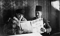 0109376 © Granger - Historical Picture ArchiveWOLFGANG VON WEISL   (1896-1974). Austrian journalist, physician, and Zionist leader. Photographed reading 'The Sphere' magainze with Abul Fath on board the LZ 127 Fraf Zeppelin airship, April 1929.