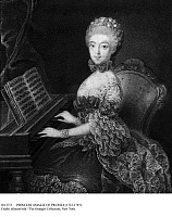 0113715 © Granger - Historical Picture ArchivePRINCESS AMALIE OF PRUSSIA   (1723-1787). Sister of Frederick the Great. Undated portrait of Amalie seated at a spinet. Full credit: Retzlaff(L) - ullstein bild / Granger, NYC -- All Rights Reserved.