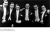 0115743 © Granger - Historical Picture ArchiveCOMEDIAN HARMONISTS, c1930.   German harmony ensemble. From left to right: Robert Biberti, Erich Abraham Collin, Erwin Bootz; Roman Cycowski, Harry Frommermann-Frohman, Ari Leschnikoff. Photograph, c1930.