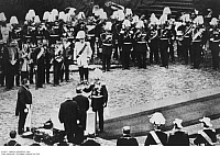 0116052 © Granger - Historical Picture ArchiveBERLIN: REICHSTAG, 1884.   Emperor of Germany William I, laying the cornerstone of the Reichstag at the Königsplatz in Berlin. In the background (in white uniform) is Chancellor Otto von Bismarck. Photographed by Ottomar Anschuetz, 9 June 1884.