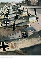 0117769 © Granger - Historical Picture ArchiveGERMAN AIRPLANES, 1943.   New squadron of Nazi German Focke-Wulf airplanes on an airfield during World War II, 1943.