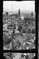 0120589 © Granger - Historical Picture ArchiveDRESDEN: RUINS, 1945.   View of Dresden, Germany, from a window of the town hall tower, showing ruins resulting from the Allied firebombing of 13-15 February 1945, near the end of World War II. Full credit: ullstein bild - Andres / Granger, NYC -- All Rights Reserved.