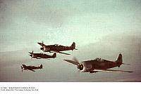 0121040 © Granger - Historical Picture ArchiveWORLD WAR II: GERMAN PLANES.   A squadron of German Focke-Wulf FW 190 fighter planes in formation during World War II, c1942. Full credit: Sobotta - ullstein bild / Granger, NYC -- All Rights Reserved.