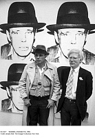 0121637 © Granger - Historical Picture ArchiveWARHOL AND BEUYS, 1980.   American pop artists Joseph Beuys (right) and Andy Warhol. Photographed in front of Warhol's silkscreen portrait of Beuys, at the Schellmann & Klüser art gallery in Munich, Germany, 1980. Full credit: amw - ullstein bild / Granger, NYC -- All rights reserved. EDITORIAL USE