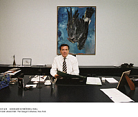 0121638 © Granger - Historical Picture ArchiveGERHARD SCHRÖDER (1944-).   Chancellor of Germany, 1998-2005. Photographed in his office, 2003. Behind him is a painting by Georg Baselitz, 'Finger Painting/Eagle.' Full credit: Farbender - ullstein bild / Granger, NYC -- All rights reserveUSE ONLY.