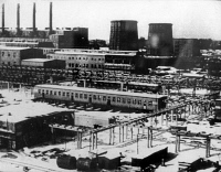 0123577 © Granger - Historical Picture ArchiveAUSCHWITZ: CHEMICAL PLANT.   View of the IG-Farben chemical factory at the Auschwitz Monowitz concentration camp, where the gas 'Zyklon B,' used to gas inmates, was produced by other inmates. Photograph, c1940.