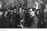 0123816 © Granger - Historical Picture ArchiveBORDER GUARDS, 1961.   Erich Honecker, secretary for security matters of the German Democratic Republic, meeting with a unit of the border police at Bad Salzungen, on the frontier with West Germany, 15 September 1961.