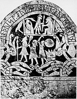 0124357 © Granger - Historical Picture ArchiveVIKING RELIEF, 9TH CENTURY.   Ninth century relief on the Sanda stone from Gotland, Sweden, depicting the Norse gods Odin and Frigg with a swan (top) and dead warriors entering Valhalla over the Bridge of the Afterlife. Full credit: Archiv Gerstenberg - ullstein bild / Granger, NYC -- All rights res