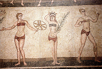 0126428 © Granger - Historical Picture ArchiveSICILY: ROMAN MOSAIC.   Roman mosaic of women gymnasts in bikinis, from the Villa Romana del Casale, Piazza Armerina, Sicily, 4th century A.D. Photograph, 1995. Full credit: Promnitz - ullstein bild / Granger, NYC -- All rights reserved.