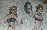 0126429 © Granger - Historical Picture ArchiveROMAN MOSAIC, 4TH CENTURY.   Detail of a Roman mosaic of women gymnasts wearing bikinis and exercising, from the Villa Romana del Casale, Piazza Armerina, Sicily, 4th century A.D. Photograph, 2005. Full credit: Schellhorn - ullstein bild / Granger, NYC -- All rights reserved.