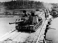 0127515 © Granger - Historical Picture ArchiveWORLD WAR II: POLISH TANK.   A JSU-152 tank of the Polish 1st Army crossing a pontoon bridge over the Oder River during the Battle of the Seelow Heights, 19 April 1945. Full credit: Bildarchiv - ullstein bild / Granger, NYC -- All rights re