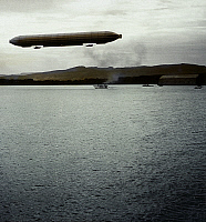 0127634 © Granger - Historical Picture ArchiveGERMANY AVIATION.   Germany (german empire) beginning of aviation Zeppelins - above Lake Constance near Friedrichshafen | background the Zeppelin-hangar no further details, about 1908