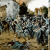 0127661 © Granger - Historical Picture ArchiveGERMAN-FRENCH WAR.   History Germany / France: German - french war 1870/71: Battle of Woerth (Alasace) : Crown-prince Frederick-William of Prussia and bavarian troops at Froeschweiler. 06.August 1870 contemp. painting