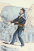 0127701 © Granger - Historical Picture ArchiveGERMAN-FRENCH WAR.   German - French War Navy - Artilleryman with a canon - Contemporary lithograph