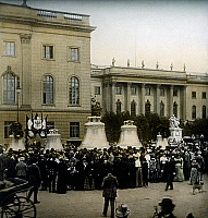 0127749 © Granger - Historical Picture ArchiveGERMAN EMPIRE HISTORY.   German Empire 1871-1918: Presentation of new church bells to the public Berlin, Unter den Linden, in front of the Friedrich-Wilhelm-Univerity (later Humboldt-Univ.) - presumably the church bells for the newly erected Protestant cathedral building neraby. 1905.