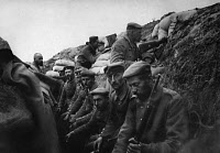 0127812 © Granger - Historical Picture ArchiveWORLD WAR I: AISNE, 1914.  Exhausted German soldiers in a trench in the Aisne region of France, after retreating from the First Battle of the Marne during World War I, September 1914.
