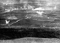 0127821 © Granger - Historical Picture ArchiveWORLD WAR I.   1.WW , Theatre of war , western front 1916, Verdun: Artillery bombarding (destruction fire) of Fort Douaumont and (background) height Dead Man (Homme Mort). Spring 1916.