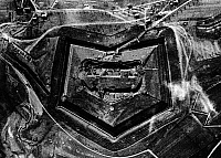 0127823 © Granger - Historical Picture ArchiveWORLD WAR I.   1.WW , Theatre of war , western front 1916, Verdun : aerial view of Fort Douaumont February 1916 at the beginning of the German offensive (conquered on Feb.2nd 1916) clearly visible are several shell-holes of German artillery. Feb. 1916.