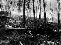0127866 © Granger - Historical Picture ArchiveWORLD WAR I.   Western front 1915: Soldiers camp in a copse near Neuville (Arras). Autumn 1915.