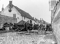 0127900 © Granger - Historical Picture ArchiveWORLD WAR I.   Theatre of war, western front: Belgium-France (advance to -Marne) August-September 1914: German soldiers during combat behind a barricade in a village of the Marne Region (battle of marne). September 1914.