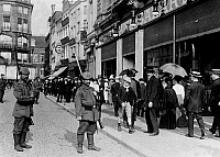 0127957 © Granger - Historical Picture ArchiveWORLD WAR I.   Theatre of war, western front: Belgium-France (advance to -Marne) August-September 1914 Occupation of Liege, August 14th: Two German Landwehr - soldiers on guard in one of streets of Liege c16.08.1914.