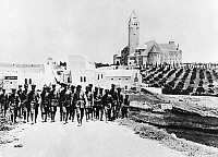 0127973 © Granger - Historical Picture ArchiveWORLD WAR I.   German. German soldiers in Jerusalem coming back from their furlough at Augusta-Viktoria-Stift on top of the Mount of Olives. Spring 1917.