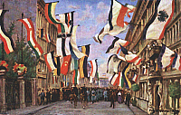 0127981 © Granger - Historical Picture ArchiveWORLD WAR I.   A street in Berlin decorated with flags. Colored postcard.