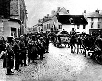 0128061 © Granger - Historical Picture ArchiveWORLD WAR I.   Theatre of war, western front: German supplies transport passing Neufchatel (Aisne) on its way to the front positions near Craonne (Chemin des Dames) - October 1914.