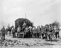0128177 © Granger - Historical Picture ArchiveWORLD WAR I.   1.WW, Theatre of war , western front, Flanders: commandant's office in a circus trailer behind the frontlines Ypres region, oct. 1914