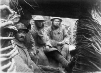 0128319 © Granger - Historical Picture ArchiveWORLD WAR I: TRENCH, 1918.   French and American soldiers in a trench on the western front during World War I, spring 1918. Full credit: ullstein bild - Archiv Gerstenberg / Granger, NYC -- All Rights Reserved.