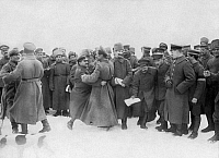 0128332 © Granger - Historical Picture ArchiveWORLD WAR I.   Armistice between Central Powers and Soviet Russia/Romania: Fraternization of former enemy soldiers on the Yaselda riverfront (polesie): German-Russian Krakowiak: December 1917.