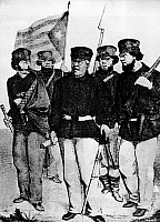 0131416 © Granger - Historical Picture ArchiveNARCISO LOPEZ (1797-1851).   Venezuelan soldier and adventurer. Lopez (center) with some of his fellow combatants at the time of his second unsuccessful invasion of Cuba from U.S. territory, August 1851; the banner designed for the expedition (left) was later adopted as the flag of an independent Cuba. Contemporary wood engraving.