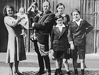 0131771 © Granger - Historical Picture ArchiveBENITO MUSSOLINI (1883-1945).   Italian political leader. Photographed with his family. At left is his wife, Rachel, and daughter Anne-Marie. Benito holds his son, Romano. At right is daughter Edda, and sons Bruno and Vittorio. Photograph, c1925. Full credit: Röhnert - ullstein bild / Granger, NYC -- All Rights Reserved.