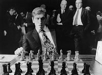 0131801 © Granger - Historical Picture ArchiveBOBBY FISCHER (1943-2008).   American chess player, playing in the semifinal round of the World Chess Tournament in Buenos Aires, Argentina, 1971.