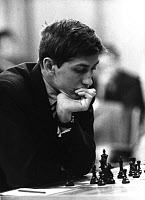 0131804 © Granger - Historical Picture ArchiveBOBBY FISCHER (1943-2008).   American chess player, playing a game, c1962. Full credit: Herbert Kronfeld - ullstein bild / Granger, NYC -- All rights reserved.