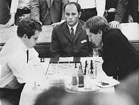 0131808 © Granger - Historical Picture ArchiveBOBBY FISCHER (1943-2008).   American chess player. Fischer (right) playing a game against Soviet world champion Boris Spassky at the 19th Chess Olympiad in Siegen, West Germany, 20 September 1970. Full credit: Schirner X - ullstein bild / Granger, NYC -- All rights reserved.