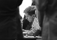0131809 © Granger - Historical Picture ArchiveBOBBY FISCHER (1943-2008).   American chess player. Photographed during a game at the Chess Olympiad in Havana, Cuba, 15 November 1966. Full credit: Sven Simon - ullstein bild / Granger, NYC -- All Rights Reserved.