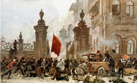 0131874 © Granger - Historical Picture ArchiveRUSSIAN REVOLUTION, 1917.   Bolshevik attack on the Winter Palace in Petrograd, during the October Revolution, 1917. Contemporary painting. Full credit: Archive Gerstenberg - ullstein bild / Granger, NYC -- All rights reserved.