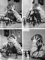0131876 © Granger - Historical Picture ArchiveBOBBY FISCHER (1943-2008).   American chess player. Fischer contemplating a game during a Manhattan Chess Club tournament in March 1956.