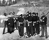 0132226 © Granger - Historical Picture ArchiveMEXICAN HISTORY.   'The Execution of Emperor Maximilian,' by Edouard Manet, 1867. Contemporary painting depicts the execution by Mexican firing squad of the Emperor of Mexico, an Austrian who had been installed by Napoleon III.
