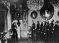 0132233 © Granger - Historical Picture ArchiveMAXIMILIAN OF MEXICO.   (1832-1867). Maximilian of Mexico, Emperor of Mexico 1864-1867 (born Archduke Ferdinand Maximilian Joseph of Austria). A Mexican delegation offering the Archduke of Austria the Mexican crown at Miramare Castle, Trieste (today Italy). Photograph, 1863.