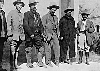 0132248 © Granger - Historical Picture ArchiveMEXICAN REVOLUTION.   Revolutionary troops: Francisco 'Pancho' Villa and officers of his troops (Division del Norte) after winning the battle of Torreon (Coahuila) against the Federales of the regime of General Victoriano Huerta. From the right: Colonel Medina, General Ortega, Pancho Villa, General Fierro and an unidentified man. Photographed, c1914.